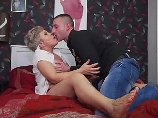 Short haired of age blonde Klaudia D. hardcore pounded from behind