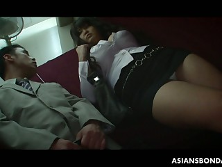 Kinky big breasted Asian hoe Airi Ai has relating to suck genteel soft cock