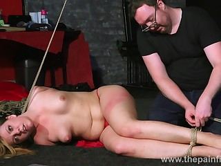 Plump naked whore Kate lies not susceptible will not hear of intestines during some ass spanking