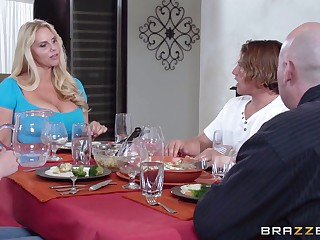 Massive tits mature Karen Fisher pleasures a guy surrounding the cookhouse