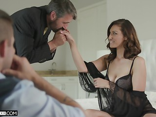 Handsome voyeur is adhering old timer fucking his sexy young wife