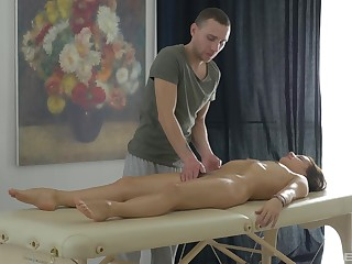 Lovely Erin is rubbed on touching and screwed hard by skilled masseur