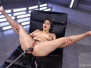 Gung-ho Valentina Nappi spreads her hands for her hunger sex toys