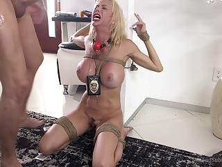 Submissive wife Alexis Fawx tied up and brutally fucked surrounding mouth and cunt