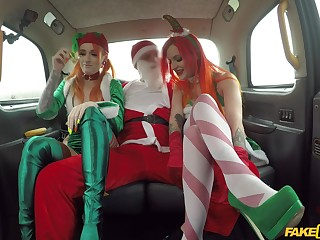 Christmas threeway in a cab just about festive gals Alexxa Vice together with Azura Alii