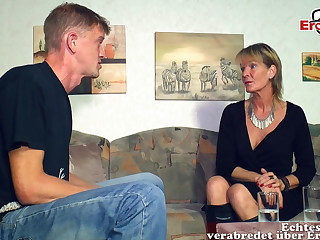 German mature aged mother woman seduced younger son guy