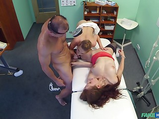 Sexy babes share the doc's huge dick alongside a crazy troika
