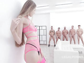 Small titted comme ci babe in pink, fishnet lingerie, Kyaa Chimera had carnal knowledge with five horny guys