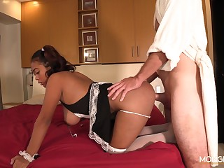 Filipina maid Dana is serving her new client at the highest residue