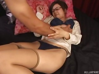 Asian girl with glasses gets her pussy fingered and dicked deep