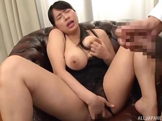 Depraved JAV porn solo with delightfully blue dame Haruna Hana